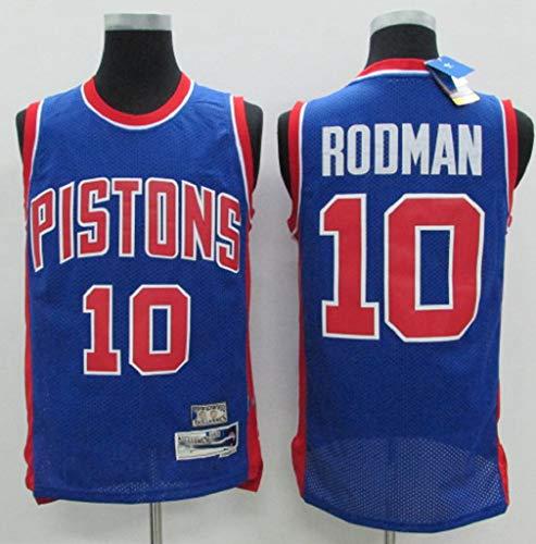 WZ Dennis Rodman # Pullover di Pallacanestro 10 Pistoni degli Uomini Retro Classic, Traspirante Wearable Ricamato T-Shirt Fan per Outdoor Sport E Tempo Libero,M:175cm/65~75kg