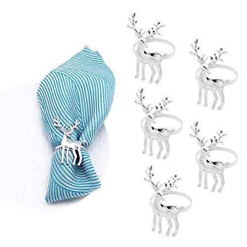 Ajuste de mesa ideal anillos de servilleta 6pcs Navidad Anillos de servilleta Titulares de servilletas Serviette Hebillas para la decoración de la mesa de comedor de fiesta Hebilla de servilleta domés