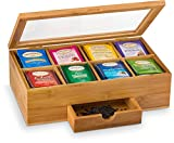 Natural Bamboo Tea Storage Box - Wooden Tea Chest Organizer with Small Drawer - Great Gift Idea…