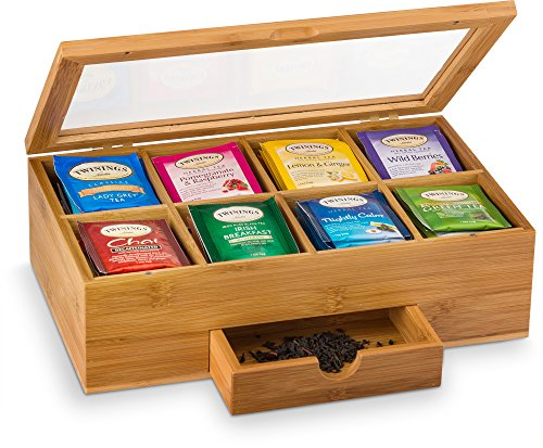 Natural Bamboo Tea Storage Box - Wooden Tea Chest Organizer with Small Drawer - Great Gift Idea