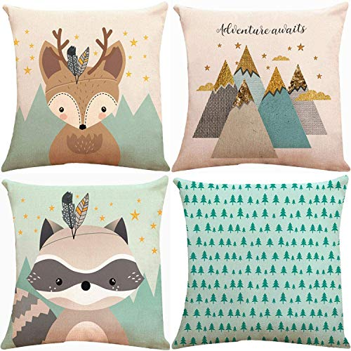 Munzong Forest Animal Fox Throw Pillow Covers 20x20 Inch, Set of 4 Soft Teal Square Decorative Cushion Cover Pillowcases for Sofa Couch Woodland Girls Nursery Bedroom Decor