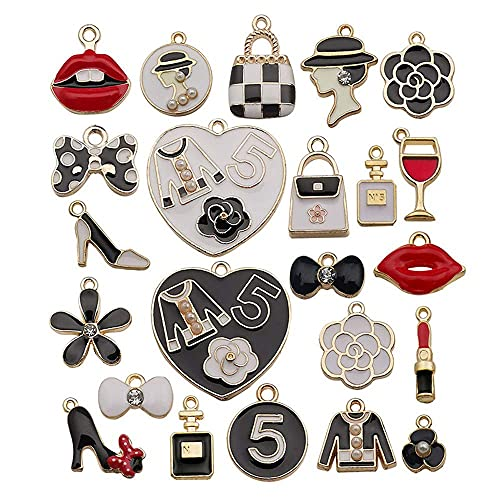 23 piezas colgantes de dijes, colgante de dijes de lápiz labial, colgantes de esmalte chapados en oro, pendiente de pulsera DIY para hacer joyas