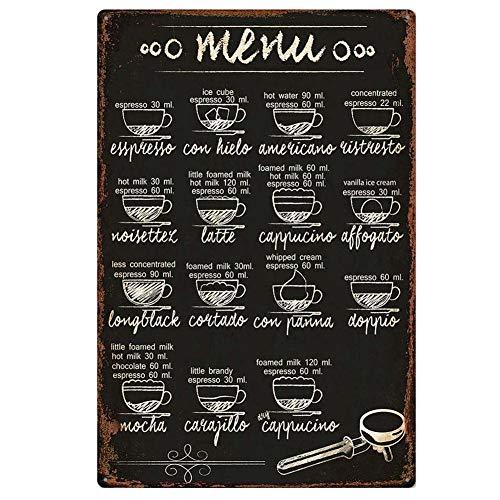 Lumanuby. 1x Gemalt 'Menu' Wandschild von Kaffee Speisekarte Bild mit Kaffeenamen Metall Wandposter für Café Club Restaurant Speisen im Freien 20x30cm Schwarz Kreidezeichnung Stil, Bar Sprüche Serie