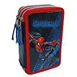 Estuche escolar 3D Spiderman Marvel multicompartimento con 3 cremalleras, portarrollos Carioca - SP0630