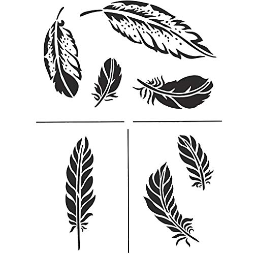 Universal Schablone Federn stencil feather A4 vintage shabby upcycling