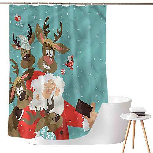 Dasnh Printing Curtains for Bathroom Reindeer Buddies Selfie W36 x L72 3D Printed Shower Curtain