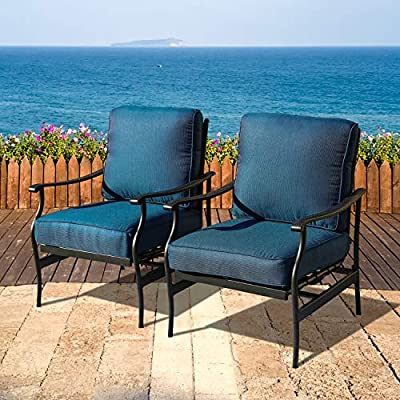 LOKATSE HOME Patio Bistro Dining Chairs Sets Outdoor Conversation Steel Iron Furniture with 5.1 Inch Thick Seat Cushions, Blue