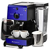 EspressoWorks 7 Pc All-In-One Espresso Machine & Cappuccino Maker Barista Bundle Set w/Built-In Steamer & Frother (Inc: Coffee Bean Grinder, Milk Frothing Cup, Spoon/Tamper & 2 Cups), (Blue)