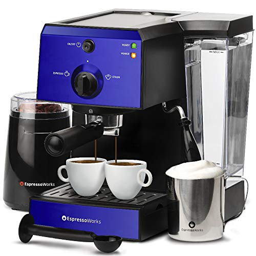 Espresso Machine & Cappuccino Maker with Milk Steamer- 15 Bar Pump, 7 Pc All-In-One Barista Bundle Set w/ Built-in Frother (Inc: Coffee Bean Grinder, Milk Frothing Cup, Tamper & 2 Cups), 1350W (Blue)