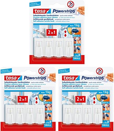 tesa Powerstrips Gardinenhaken, selbstklebend, 12 Haken, weiß