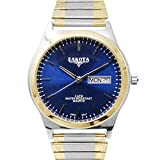 Dakota Easy to Read Unisex 35mm Large Face Day/Date Twist Stainless Steel Expansion Stretch Band Water Resistant Watch (Two-Tone with Blue Stick Dial, 46818)