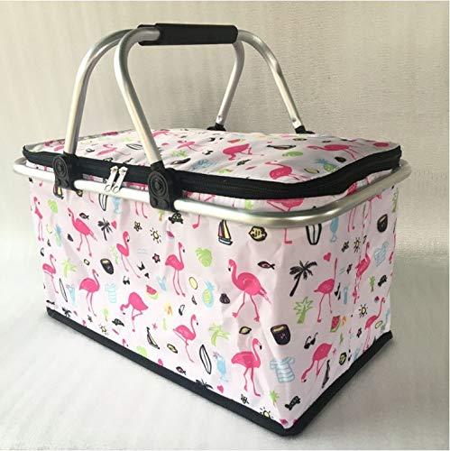 Fast-Food-Tasche, Auto-Isolationstasche, Kühlbox Für Lebensmittel Im Freien, Klappbarer Einkaufskorb 47 * 28 * 24Cm Strandspaziergang (Flamingo)