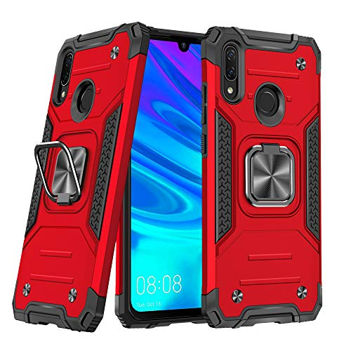 DASFOND Diseñado para Huawei P Smart 2019 Funda, Funda Protectora de Grado Militar para teléfono con Soporte de Anillo de Metal Mejorado [Soporte magnético] Compatible con Huawei P Smart 2019, Rojo