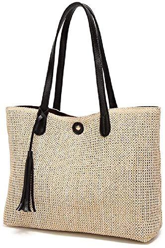 Bolso de la manera dulce informal de verano Grande de playa de la paja muertos bolsas sencilla capacidad de diseño de las mujeres del bolso de hombro,negro