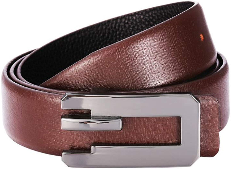 Men's Leather Belt Alloy Plate Buckle Wear Belt, (color   Brown, Size   120cm)