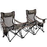 XGEAR Sillas de camping con mesa desmontable, 2 sillas recli