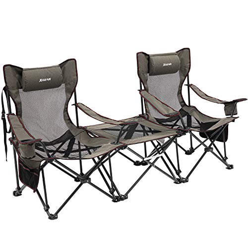 XGEAR Camping Chairs with Detachable Table 2 Portable Folding Reclining Chairs with Cup Holder and Carry Bag for Outdoor