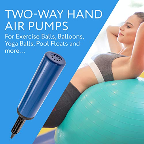 (2) Two-Way Hand Air Pumps for Exercise Balls, Balloons, Yoga Balls, Pool Floats, Balloon Pumps- Inflate 2X as Fast!