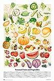 Close Up Póster Seasonal Fruits and Vegatables (61cm x 91,5cm) + 2 Marcos Transparentes con suspención