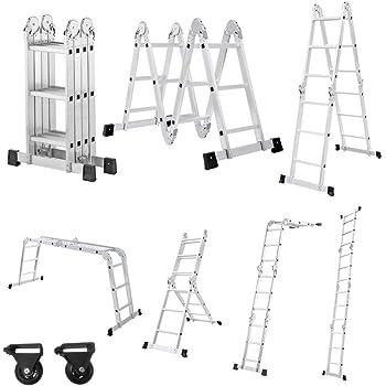 Aufun Escalera multifunción de aluminio 6 en 1, escalera plegable ajustable, escalera multiusos, soporta hasta 150 kg, escalera versátil con 2 placas de andamio, 4 x 3 peldaños: Amazon.es: Bricolaje y herramientas