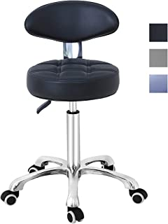 Grace & Grace Pneumatic Height Adjustable Rolling Swivel Stool with Comfortable Seat Heavy Duty Metal Base for Salon, Massage, Shop and Kitchen (Black)