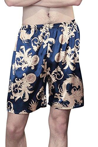 Dolamen heren slaappak broek shorts kort, 2 stuks heren satijn ondergoed boxershorts nachtkleding trunk pyjamabroek bottoms elastische band voor het slapen vrije tijd
