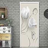 Papel Pintado de Puertas 3D Autoadhesivo Impermeable Vinilos Puertas Pegatinas Para Decorativos Para la Puertas interior del Dormitorio Murales,flor blanca 77 X 200 CM