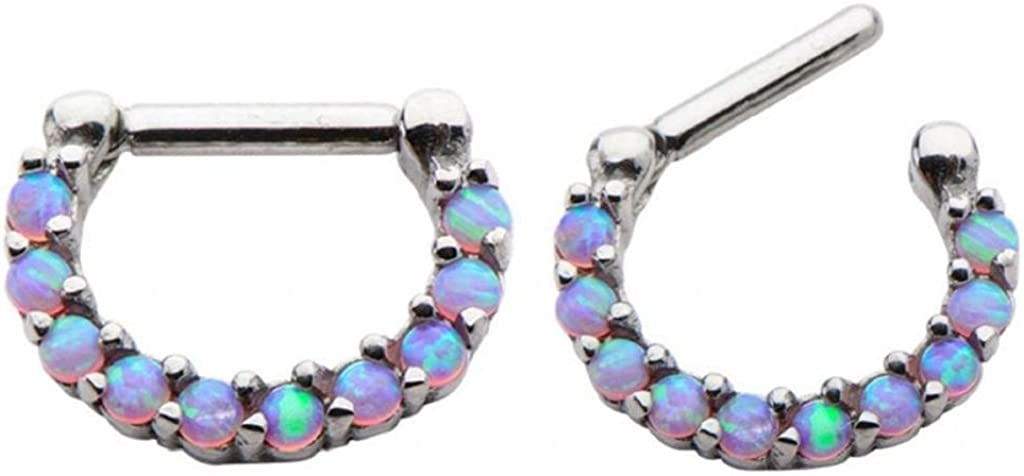Pink Prong Set Synthetic Opal fire Opal Septum Clicker Nose Ring Hoop Stainless Surgical Steel Jewelry Piercing 6x10 Wearable Length 1/4