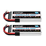 HRB 2PCS 11.1V Lipo Battery 4000mAh, 3S RC Lipo Batteries 60C for RC Car/Truck, E-Maxx Brushless, E-Revo Brushless and Spartan, for Traxxas Slash VXL, for Traxxas 1/10 Rally, for Traxxas Rustler VXL