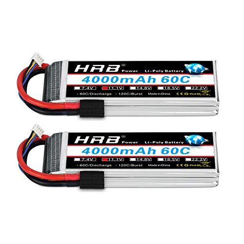 HRB 2PCS 11.1V Lipo Battery 4000mAh, 3S RC Lipo Batteries 60C for RC Car/Truck, E-Maxx Brushless, E-Revo Brushless and Spartan, for Traxxas Slash VXL, for Traxxas 1/10 Rally, for Traxxas Rustler VXL
