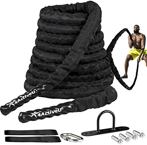 4ActiveU Battle Rope 30ft Length Heavy Battle Exercise Training Rope Workout Rope Fitness Rope product image