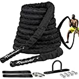 4ActiveU Battle Rope 30ft Length Heavy Battle Exercise Training Rope Workout Rope Fitness Rope for Strength Training Home Gym Outdoor Cardio Workout, Anchor Included 1.5 Inch Diameter