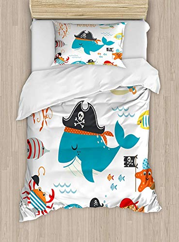SINOVAL Kids Duvet Cover Set Twin Size, Ahoy Pirate Whale Turtle Pipe Hook Crab Octopus Captain Seastar and Swordfish Art,Fashion 2 Piece Bedding Set with 1 Pillow Sham, Multicolor