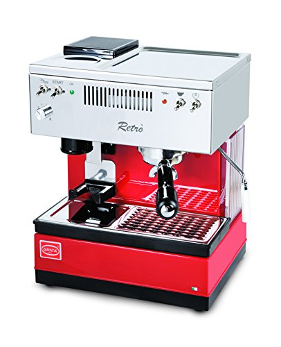 Quickmill Modell 0835 Retro Siebträger Espressomaschine, rot