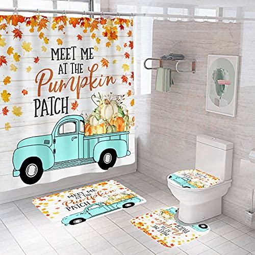 Herbst Auto Duschvorhang Set Herbst Badezimmer Vorhang mit Anti-Rutsch Teppich, WC-Deckelbezug & Badematte, Rose Duschvorhang mit 12 Haken, Wasserdicht Regentropfen Duschvorhang für Badezimmer