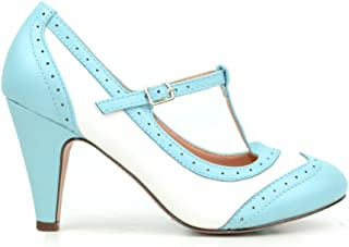 Kimmy-51 Women's Two Tone T-Strap Pump