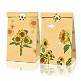 XDLEE 24 Pack Sunflower Themed Party Gift Candy Paper Bags Autumn Kids...