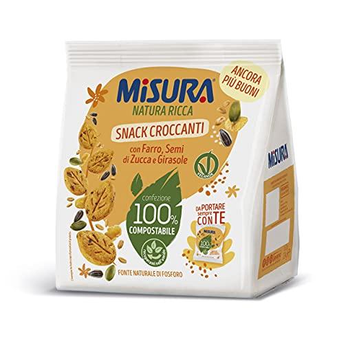 Misura Snack Croccanti Natura Ricca | Con Farro, Semi di Zucca e Girasole | Confezione da 224 grammi
