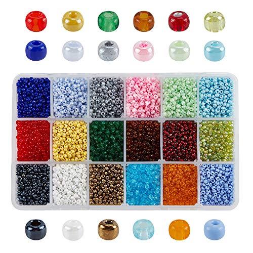 PandaHall Elite 1 Box 15 Farbe 8/0 Glas Samen Perlen 3mm Über 7500 Stück Sortiert in Aufbewahrungsbox