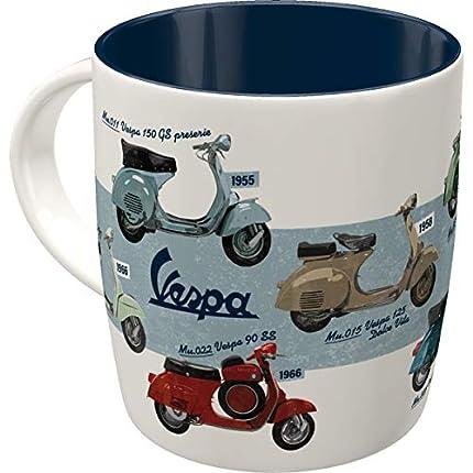 Nostalgic-Art Taza de café retro, Vespa – Model Chart – Idea de regalo para los aficionados a las scooters, Diseño vintage, cerámica, 330 ml