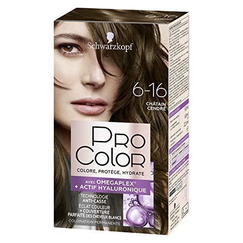 Schwarzkopf - Pro Color - Coloration Permanente Cheveux - Anti-Casse - Technologie Oméga Plex - Tenue Extra Longue Durée - Châtain Cendré 6.16