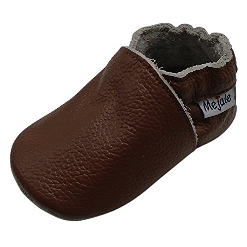Mejale Baby Boy Girl Shoes Soft Soled Leather Moccasins Anti-Skid Infant Toddler Prewalker(Brown,24-36 mos/6.2in)