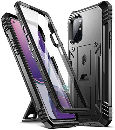 Poetic Revolution Series Entwickelt für OnePlus 8T Hülle, robuste, doppelschichtige, stoßfeste Ganzkörper-Schutzhülle mit Ständer und integriertem Displayschutz, schwarz