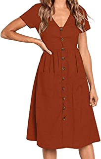 Sevem-D Women's Summer Classic Dresses Short Sleeve V Neck Button Decorative Swing Midi Dresses with Pockets