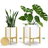 Mid Century Plant Stand, 8-12 Inches Adjustable Morden Plant Stand for Indoor Plants, Made of Selected Bamboo - Durable - Planter Stand for Indoor Plants(Mate Gold)