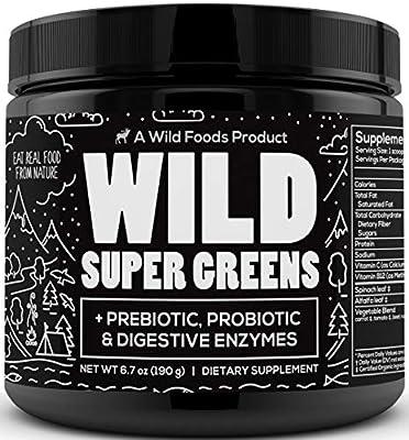 Wild Super Greens - Organic Green Superfood Powder with Digestive Enzymes - 3 Servings of Veggies per Scoop - Mixed with Kale, Spirulina, Chlorella - Vegan & Keto Friendly (30 Servings)