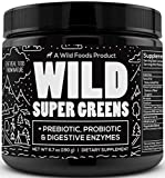 Wild Super Greens Powder - Organic Green Superfood Powder with Digestive Enzymes - 3 Servings of Veggies per Scoop - Mixed with Kale, Spirulina, Chlorella - Vegan & Keto Friendly (30 Servings)