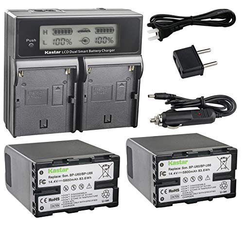 Kastar LCD Dual Fast Charger + 2 Battery Replacement for Sony BP-U60 BPU65 PMW-100 PMW-150 PMW-160 PMW-200 PMW-300 PMW-EX1 EX3 PMW-EX160 PMW-EX260 PMW-EX280 PMW-F3 PXW-FS5 PXW-FS7 PXW-FX6 PXW-FX9