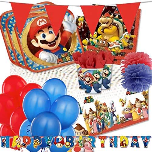DECORATA PARTY Kit n 54 Addobbi Compleanno Super Mario Run Coordinato Tavola Festa