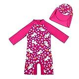 upandfast UPF50 + Sonnenschutz Langärmlige, schnell trocknende Badebekleidung für Kinder(Rosarot,9-12 Monate)